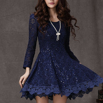 sapphire lace dress blue mini dress / Long Sleeved blue Lace Chiffon Dress / Little navy Dress / navy Fit and Flare Dress