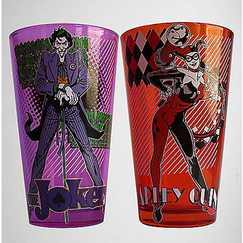 Joker Harley Quinn Pint Glasses 2 Pack - Spencer's