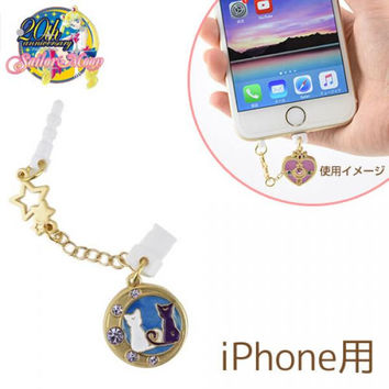 Sailor Moon Character Lightning Pin with Earphone Jack Accessory W Plug Type (Luna and Artemis)