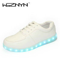WGZNYN 2017 Fashion Shining Luminous LED Shoes Women with Lighted for Adults Light Up Shoes Unisex USB Charging Glowing Shoes