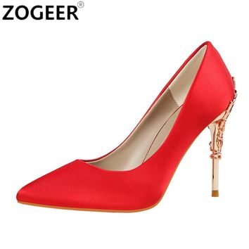 New 2017 Spring Summer Women Pumps High Heels Shoes Sexy Metal Heeded Shoes Woman Nigh