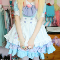 Custom Lolita Princess Maid Dress With Paw Brooch and Black KC Free Ship SP140839 from SpreePicky