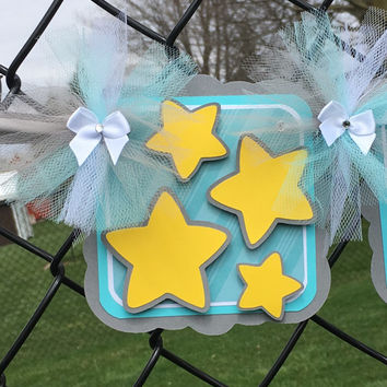 Star baby shower / birthday / name banner, teal, gray, white, table banner