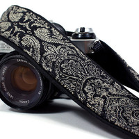 Damask Camera Strap, OOAK, Black , dSLR
