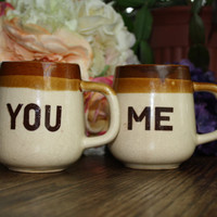 vintage you and me mugs his and hers / by HipHistoryVintage