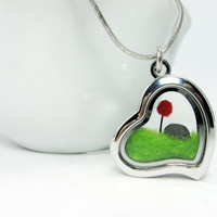 Terrarium Dr Seuss Inspired Lorax Locket, Red Pom Pom Truffula Tree on Green Grass Needle Felted w/ Unless Rock , Silver Finish
