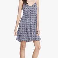 PRINTED STRAPPY TRAPEZE BABYDOLL DRESS from EXPRESS