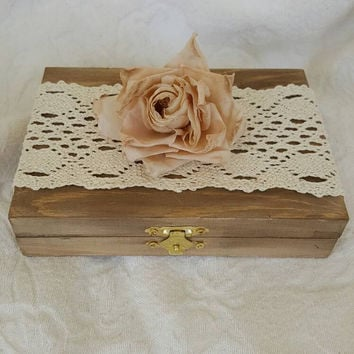 Rustic Bohemian Wedding Ring Bearers Box Stained Divided HIS and HERS Vintage Rose