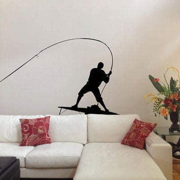 Large Fly Fishing Vinyl Design -Vinyl Decal - Wall Art - Wall Decal