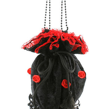 Red black velvet lace wristlets bag pompadour, victorian gothic bag, evening handbag, goth lolita drawstring vintage pouch bag purse 99A