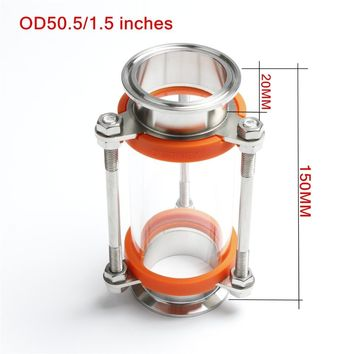 """NEW 304 Stainless Steel 1.5"""" (OD50.5MM) Tri Clamp Clover Sanitay Flow Sight Glass Diopter"""