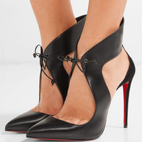 Christian Louboutin - Ferme Rouge 100 cutout leather and suede pumps