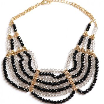 Bold And Beaded Necklace Black