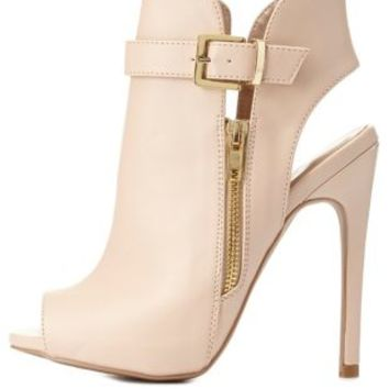 Nude Belted Zip-Up Peep Toe Booties by Charlotte Russe