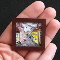 Tiny Original Miniature Doll House Acrylic Painting Collectable SALE 50% OFF