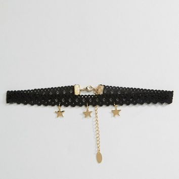 Orelia Three Star Lace Choker at asos.com