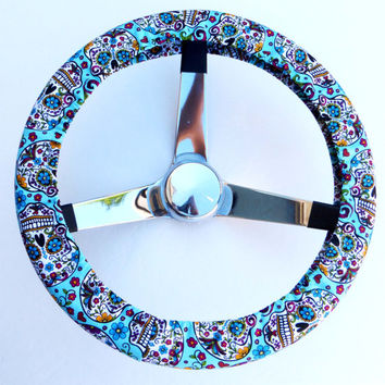 Turquoise Blue Folkloric Sugar Skull Day of the Dead Steering Wheel Cover