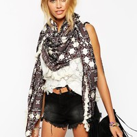 ASOS Oversized Square Scarf In Paisley Print With Tassel Edge