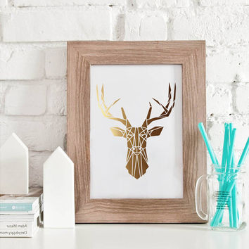 Gold Deer Print, Wall Art, Scandinavian Art, Deer Antlers, Woodlands Decor, Real Gold Foil, Gold Deer Hear, Wall Decor, Deer Poster.