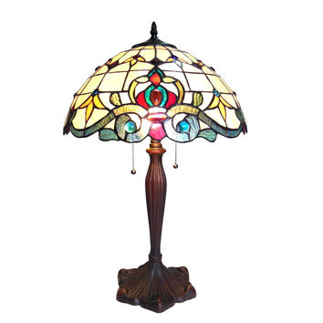 "CHLOE Lighting MARGOT Tiffany-style 2 Light Victorian Table Lamp 16"" Shade"
