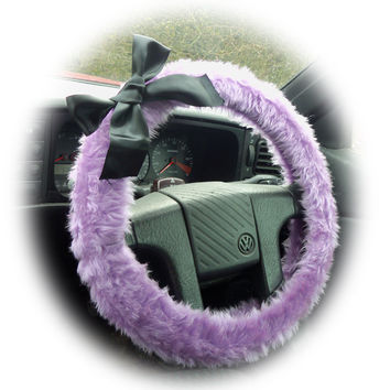 Lilac fuzzy car steering wheel cover faux fur wth Black satin Bow cute and fluffy
