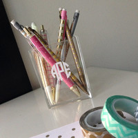 Monogrammed Acrylic Pencil Cup - Lucite Makeup brush holder