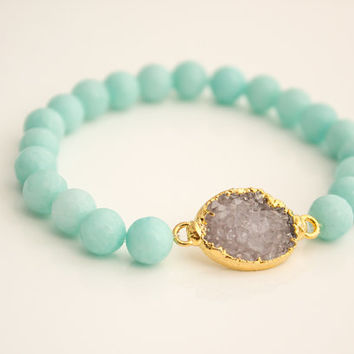 Light Aqua Jade & Druzy Beaded Bracelet