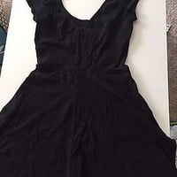 EUC American Eagle Black Open Back Cap Sleeve Dress Size Small