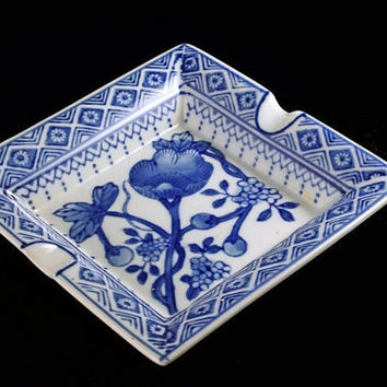 Ashtray, Nantucket, Square, Blue and White, Made in China