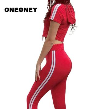 Woman Yoga Set Red Fitness Set Hooded Tops+Pants Long Pants Side Striped Red Fitness Cropped Tracksuit Red Yoga Pants Sports Set