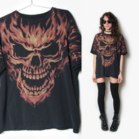 Flaming Skull T Shirt - Punk T Shirt - Metal T Shirt - Skeleton Shirt - Skull Shirt - Oversized T Shirt - 90s 1990s - Biker Sludge Grunge