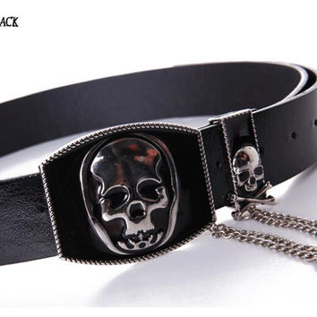 New Fashion brand Skull metal leather women belt metal pin buckle novelty belts for women Waist Belt Leather Metallic Bling Gold