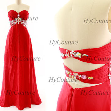 Red Prom Dresses, Strapless Chiffon Prom Gown with Crystals, Sweetheart Chiffon Formal Dresses, Floor Length Wedding Party Gown