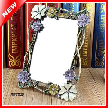 Vanity Makeup Mirror Retro Table Standing Mirror In Bedroom Dressing Framed Mirror Beauty Decorative Cosmetic Mirror