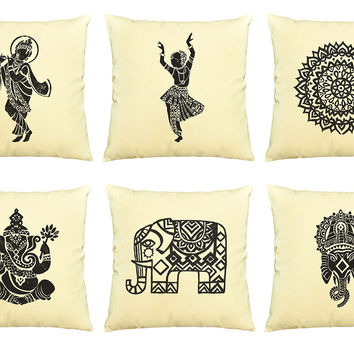 Indian Culture  Printed  Decorative Pillows Cover Cushion Case VPLC_03