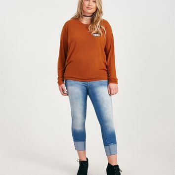 Plus Size Piece Of Me Embroidered Soft Pullover | Wet Seal Plus