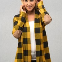Buffalo Plaid Cardigan with Elbow Patches - Mustard