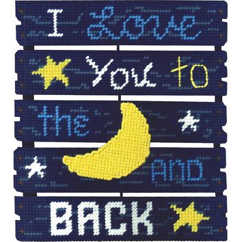 "Love You To The Moon (7 Count) Janlynn Pallet-Ables Plastic Canvas Kit 10.5""X11.5""X1.25"""