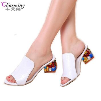 Women Sandals Ladies Slippers Shoes Women high Heels Sandals Fashion Rhinestone shoes