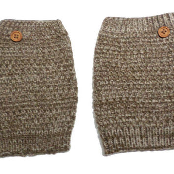 Women's Brown Taupe Mix Popcorn Pattern Crochet Knit Button Boot Cuffs, Boot Toppers, NEW COLORS, gift