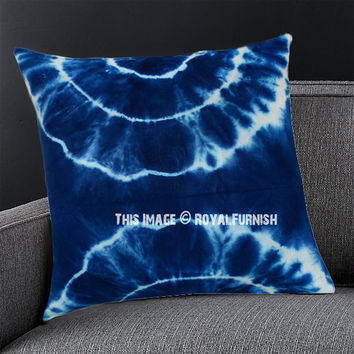 Blue  White Water Waves Shibori Indigo Pillow Cover 16X16 Inch on RoyalFurnish.com