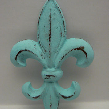 Fleur de lis Metal Cast Iron Painted Distressed Cottage Chic Light Beach Blue Wall Decor French Decor, Paris, Shabby Chic