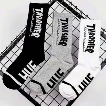 The New Trendy Thrasher Print Cotton Long Socks Sports Socks