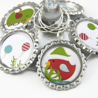 Christmas Wine Glass Charms , Christmas Wine Tags , Festive Party Favors , Christmas Table Decoration
