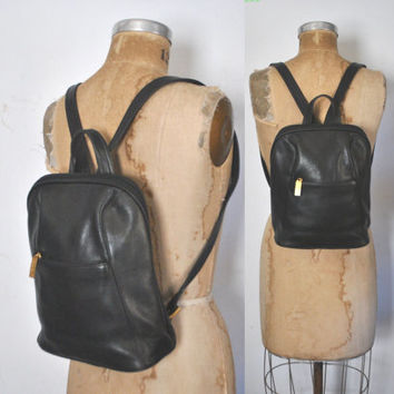 Leather Backpack Bookbag / black bag
