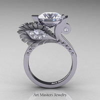 High Fashion Nature Inspired 14K White Gold 3.0 Ct White Sapphire Diamond Marquise Eye Engagement Ring R359S-14KWGDWS