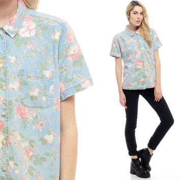 Denim Shirt FLORAL Blouse Button Down 80s Jean Oversize 90s Grunge Blue Top 1980s Vintage Short Sleeve Retro up Pink Faded Small Medium