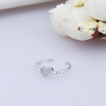 Gift Jewelry Stylish New Arrival Shiny 925 Silver Heart Accessory Strong Character Fashion Ring [7652915591]
