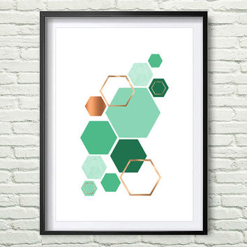 Turquoise and Copper Printable Art Hexagon Green Print Honeycomb Poster Teal Print Teal Decor Rose Print Rose Decor Geometric Wall Art *153*