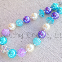 Chunky Necklace, Aqua and Lavender Large Bead Necklace, Bubblegum Necklace, Baby Necklace, Toddler Necklace, Girl Necklace
